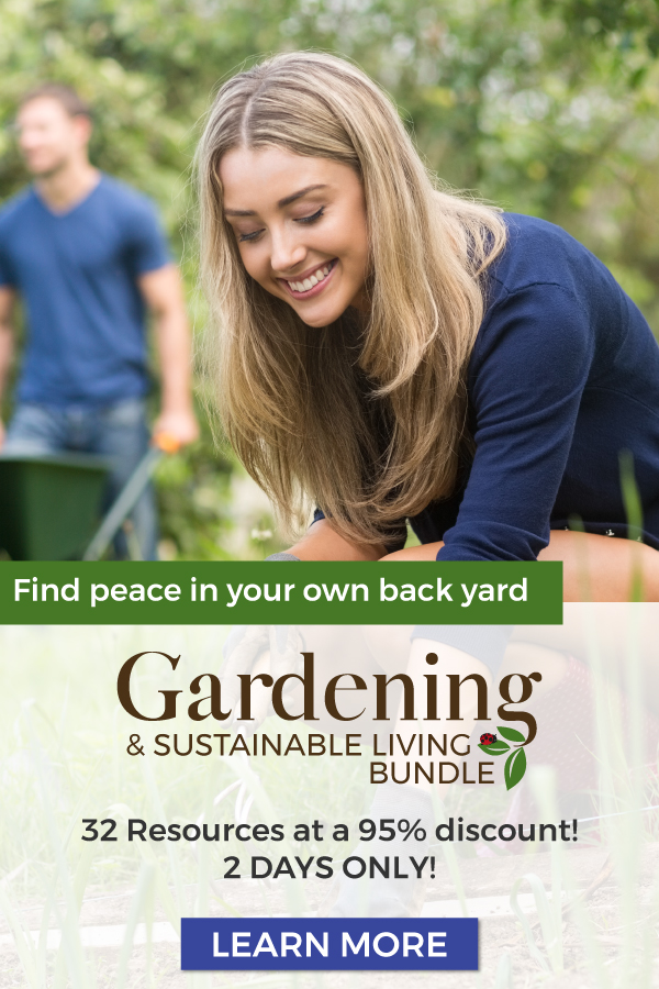 pin with photo of woman gardening in ad for sustainable living bundle